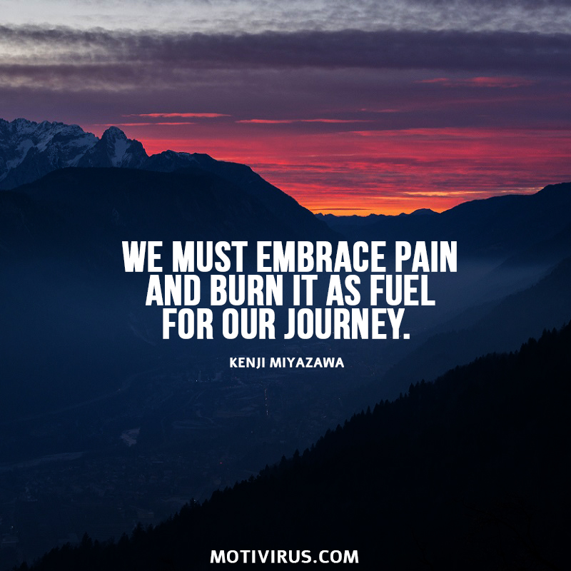 We must embrace pain and burn it as fuel for our journey. - Kenji Miyazawa