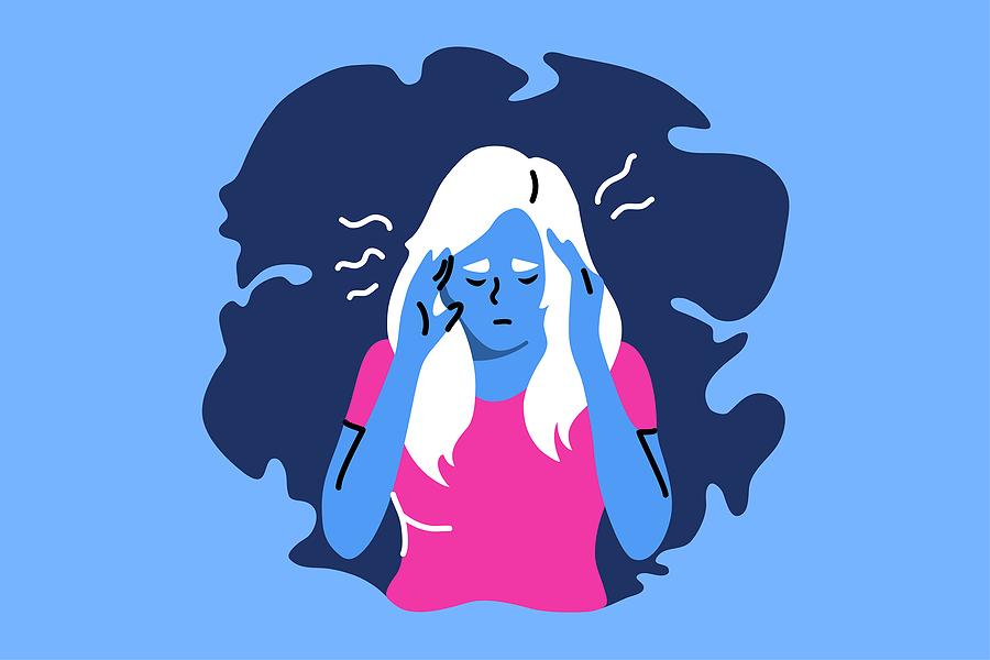 Girl cartoon clutching their head because of stress