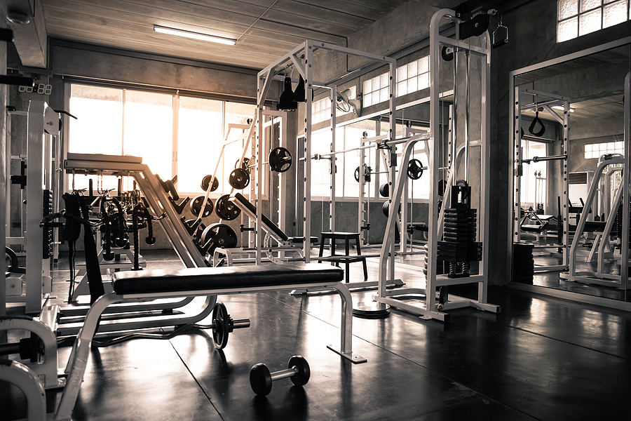 Empty gym in black and white