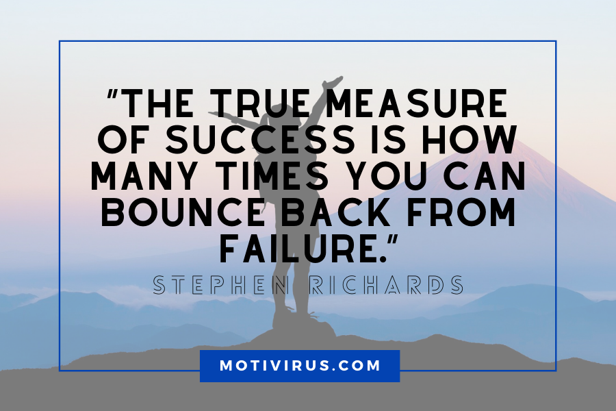 """The true measure of success is how many times you can bounce back from failure."" ― Stephen Richards changing lives quotes with silhouette of woman in background"