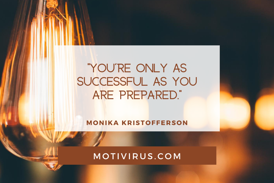 """""""You're only as successful as you are prepared."""" ― Monika Kristofferson quote graphics with fairy lights background, best motivational quotes"""