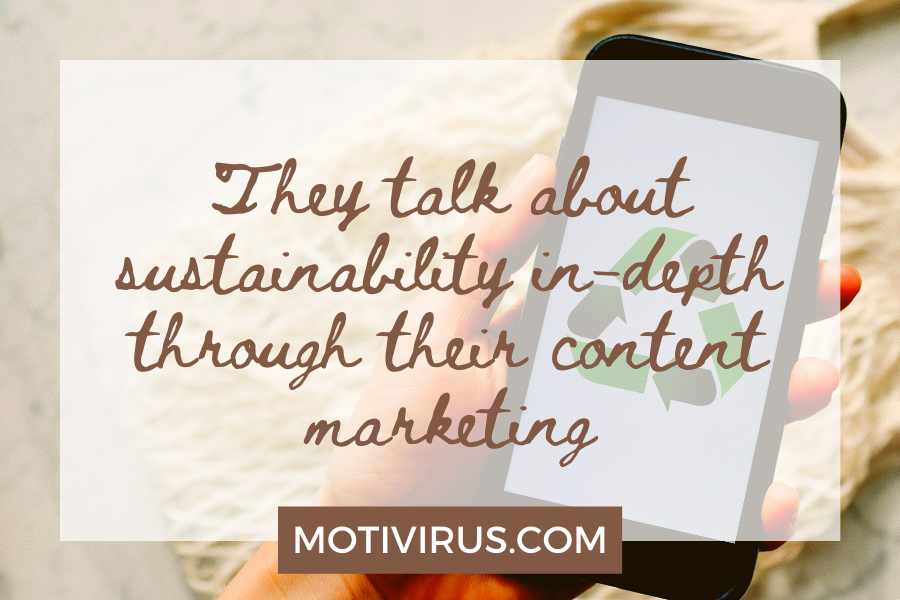 They talk about sustainability in-depth through their content marketing