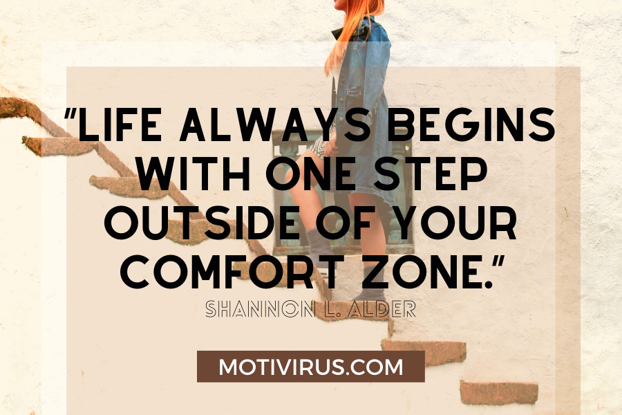 quote graphics with woman climbing stairs in background