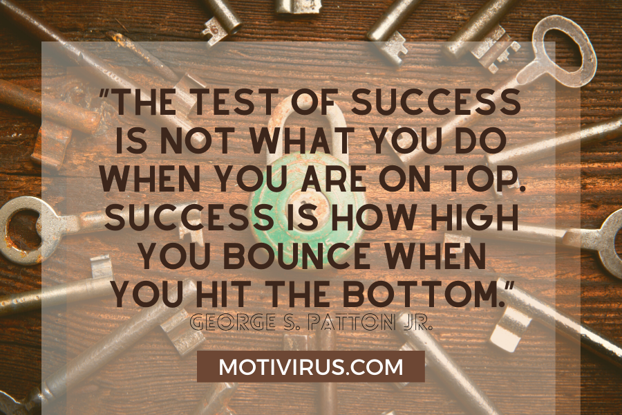 secrets of success quote graphics with keys in background