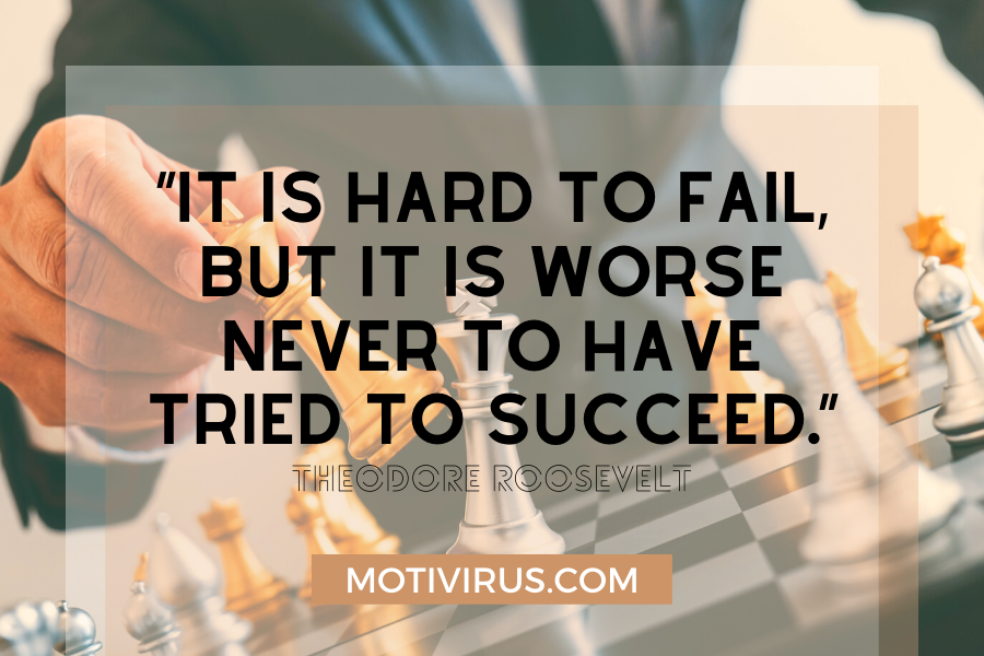 secrets of success quote graphics with man playing chess in background