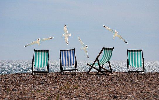 Summer, Beach, Seagulls, Deckchairs, Sea
